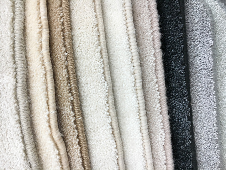 homeware: A selection of carpet samples in a homeware store