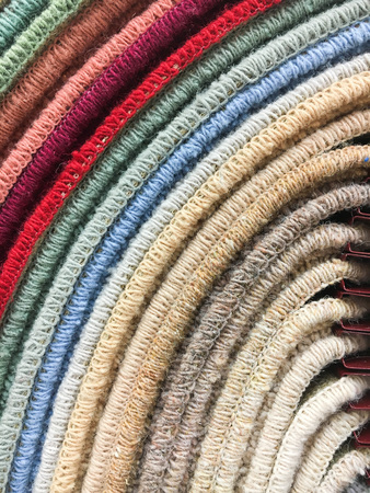 clean up: A selection of carpet samples in a homeware store