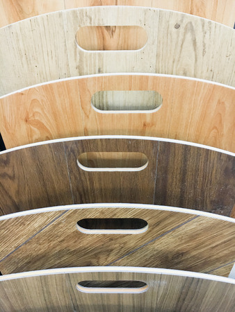 homeware: Selection of wood laminate in a homeware store Stock Photo