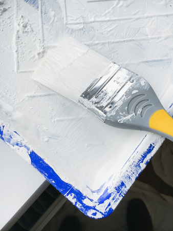 brush in: A used brush in a tray of white paint