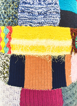 rug weaving: Colourful wool patchwork as a background