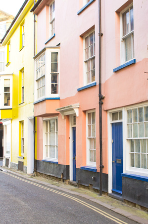 neighbours: A row of colorful town houses in the UK