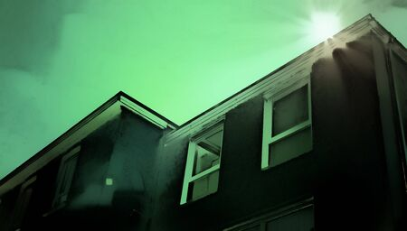 ominous: A digital painting of a building with dark green tones