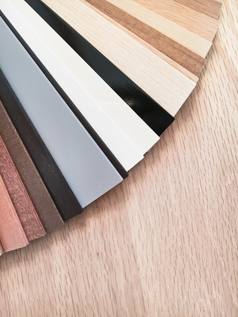 homeware: Samples of wood for blinds in a homeware store