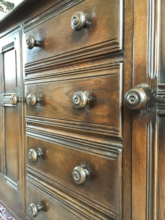 drawers: Part of an antique wooden chest of drawers