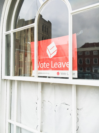 BURY ST EDMUNDS, UK - April 28 2016:  A  poster for the `Brexit campaign for Britian to leave the European Union