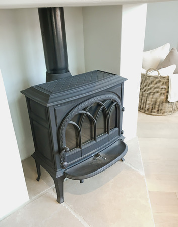 stove pipe: A modern interior wood burning stove