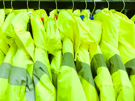 A selection of high visibility colourful jackets