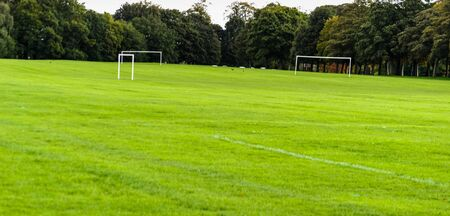 Football goals on a field near leeds in the united kingdom Stock Photo