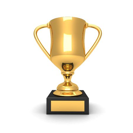 Isolated 3d gold trophy Stock Photo