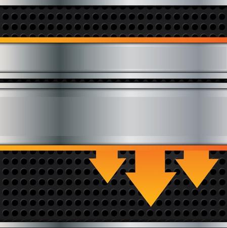 Vector metal background with orange arrows Stock Vector - 11013128