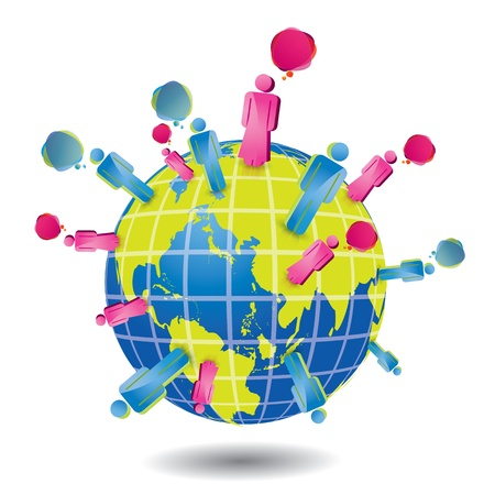sociology: Network vector symbol with Earth and people  Illustration
