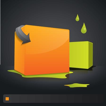 orange arrow: 3d composition with cubes on dark background Illustration