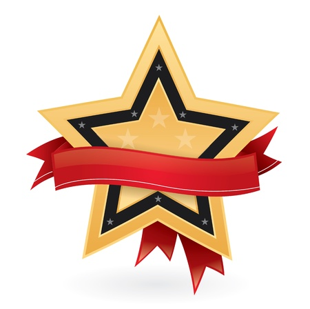 Gold star with ribbon, bestseller emblem Vector