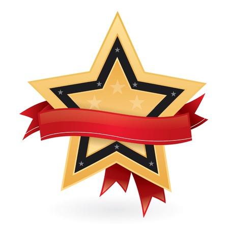 Gold star with ribbon, bestseller emblem Stock Vector - 11287429