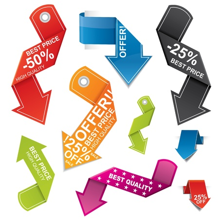 Arrow shaped vector price tag set