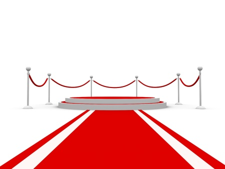 Round pedestal with barriers and red carpet photo