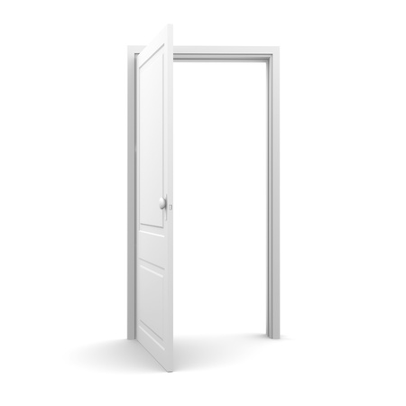 Isolated white door from front view