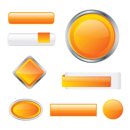 rectangle button: Glossy orange buttons with different shape variations Illustration