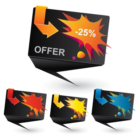 Black origami price tag with colorful speech bubble and arrow Vector