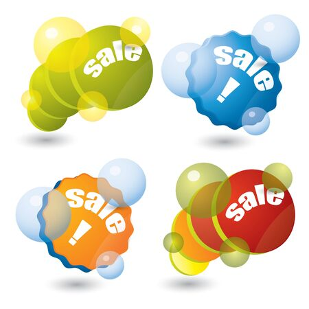 Colorful sale sticker set with bubbles Stock Vector - 11918534