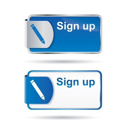 Sign up button or icon with reflective web2 and catchy design Vector