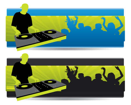 Party website banners with d Illustration