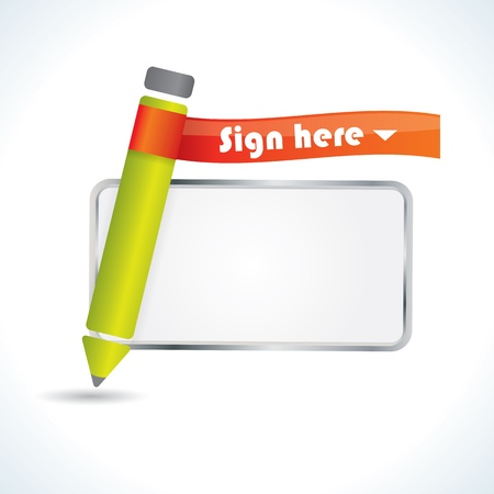 Sign here glossy icon with pencil and frame for signature Stock Vector - 14370090