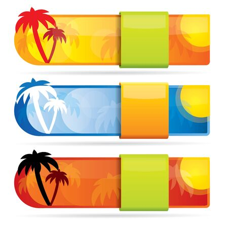 Tropical glossy vector banner set with palm trees and hot colors  Vector
