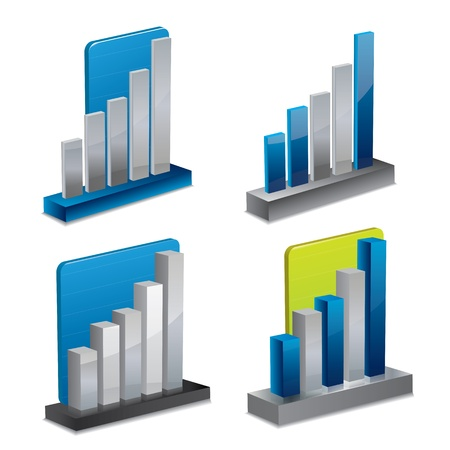 stock market charts: Modern 3d graph or diagram set
