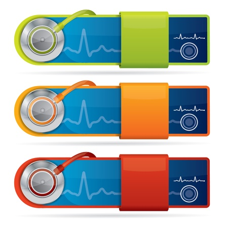 diagnostic medical tool: Glossy medical vector banners Illustration