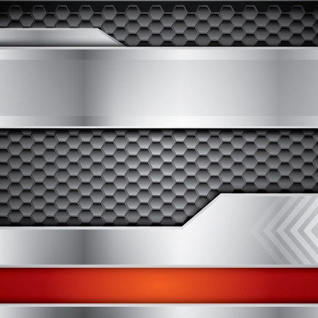 Metallic  background with steel and red color
