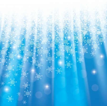 Blue Christmas or winter  background with snowflakes and rays