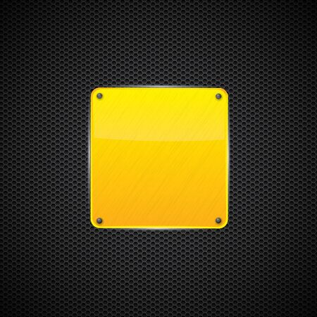Yellow polished shiny metal plate