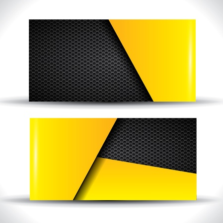 yellow note: Modern business card - yellow and black colors