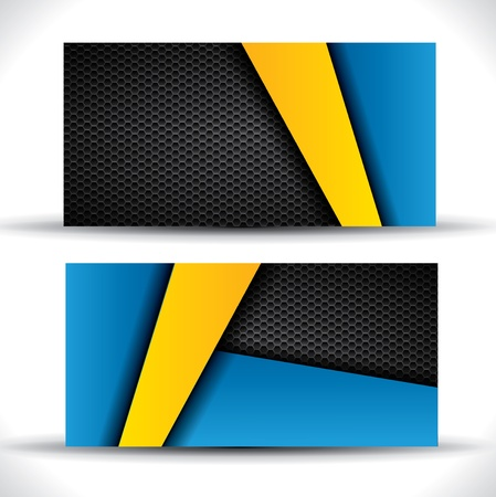 Modern business card - blue and yellow colors Illustration