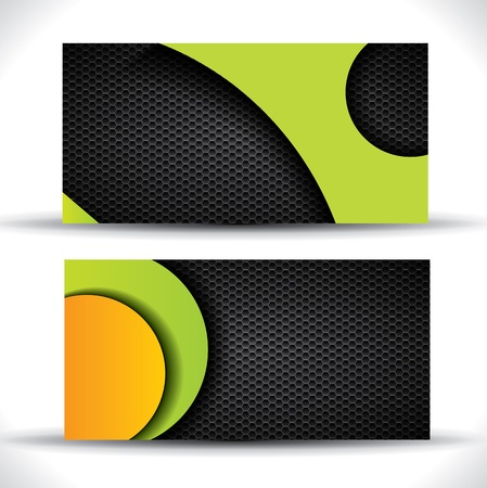 Modern  business card - green, orange and black colors Vector