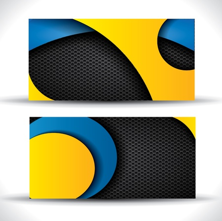 Modern  business card - blue, orange and black colors