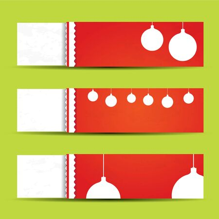 Red and white Christmas web banner set Vector