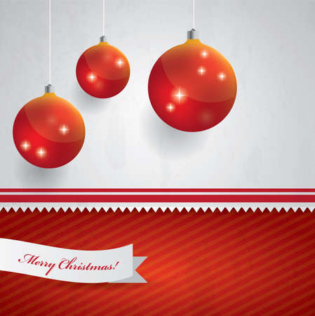 Hanging Christmas balls on red and white Christmas background Stock Vector - 16857817