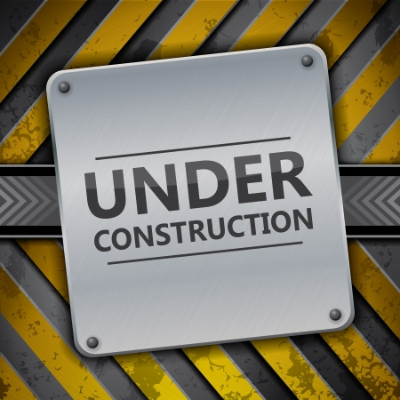 Under construction metal sign on warning stripes Vector