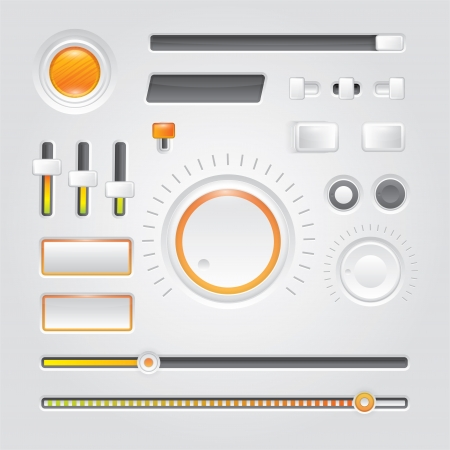White user interface - buttons, knobs and sliders Stock Vector - 17259267