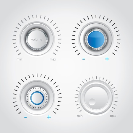 White volume knob set Stock Vector - 17259295