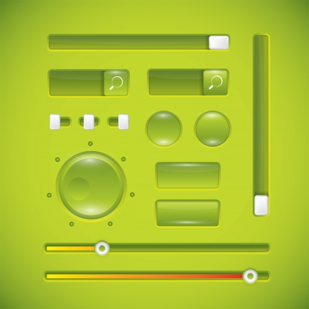 Green user interface, buttons and knobs Stock Vector - 17259266