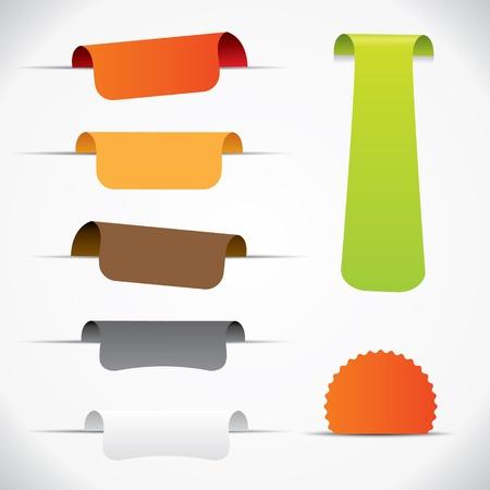 Label set, colorful design elements