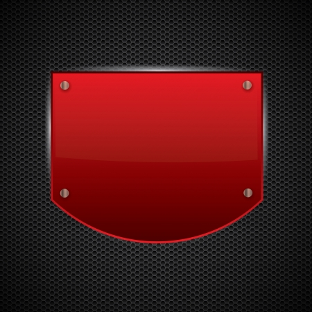 Red metal shield or plate  Stock Vector - 17411337