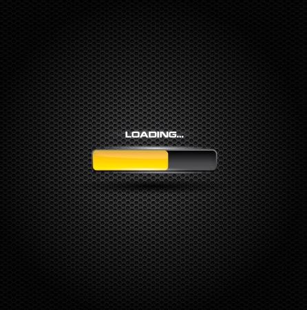 Dark loading or progress bar with yellow fill Illustration