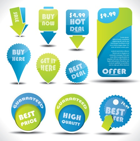 Blue and green special offer and sale labels and stickers Illustration