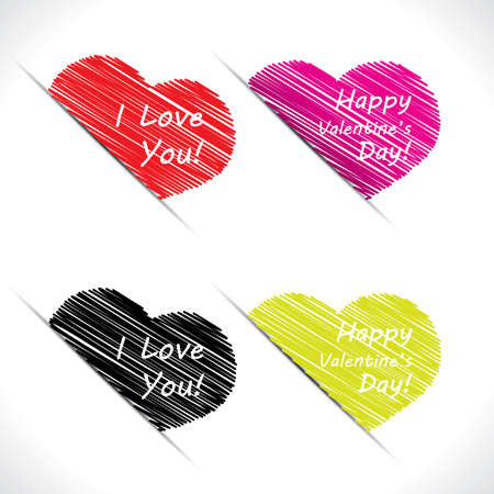 Happy Valentine scribble heart label set Stock Vector - 17583808