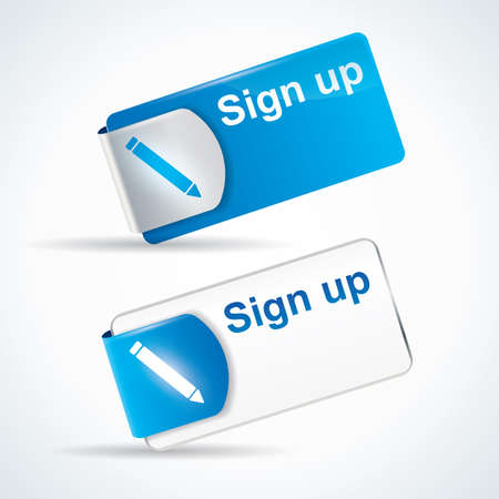 Sign up button or icon with reflective web2 and catchy design